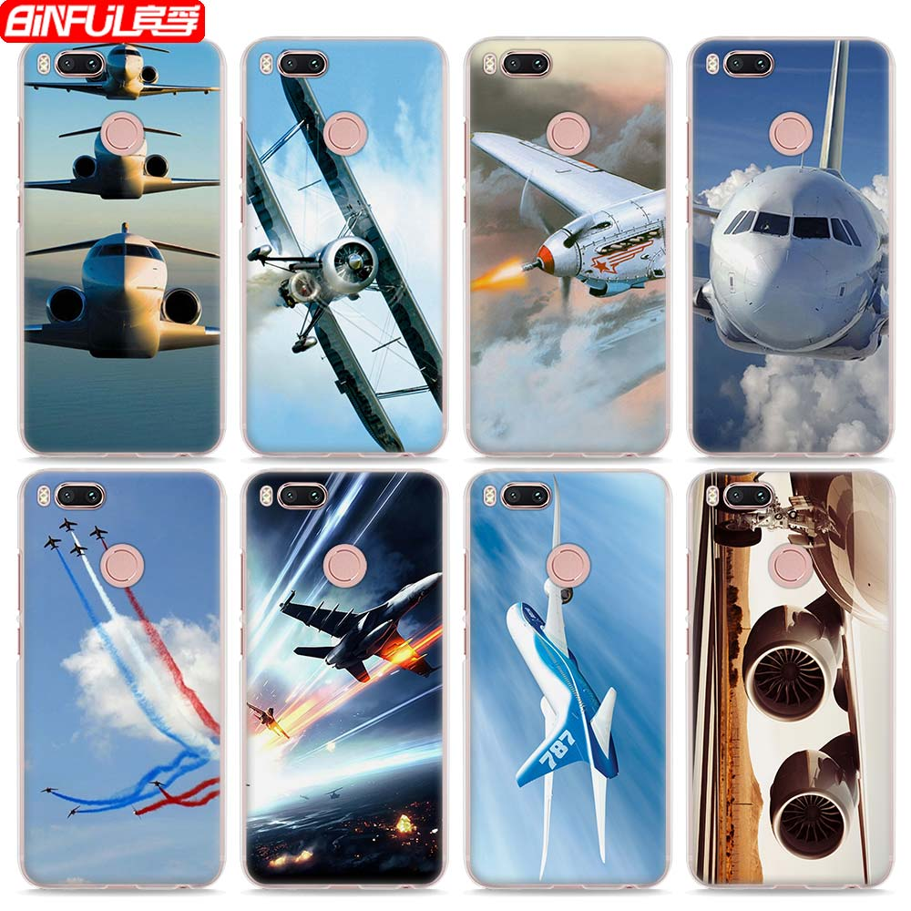 BiNFUL Hot Sale Aircraft colorful air plane style clear hard mobile phone shell Case for Xiaomi Mi 6 5X A1 5s for Redmi 4x 4A No