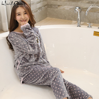 Thick Warm Flannel Pyjamas Sets Cartoon Female Sleepwear