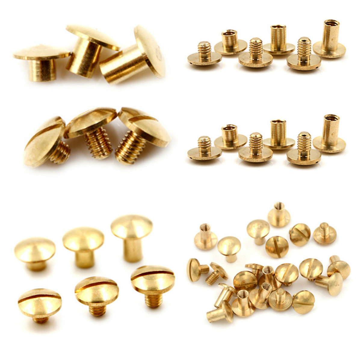10pcs 4 6 8mm Round Head Button Screw In Button Studs For Bag Belt Leathercraft Durable Leather Solid Brass Belt Bag Rivet