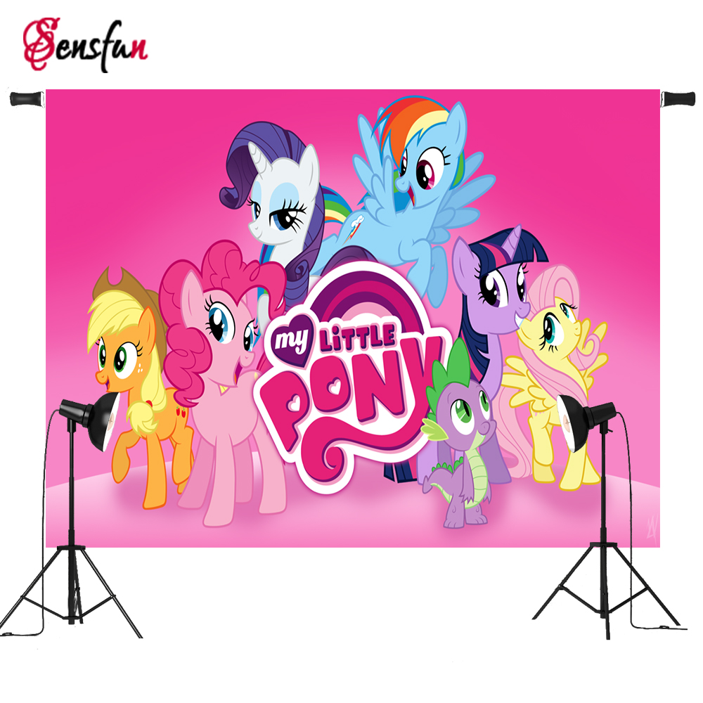 7x5ft Vinyl Cloth Cartoon Photocall My Little Pony Pink Wall Children Party Custom Photo Studio Backdrops Background custom vinyl cloth retro luggage wall