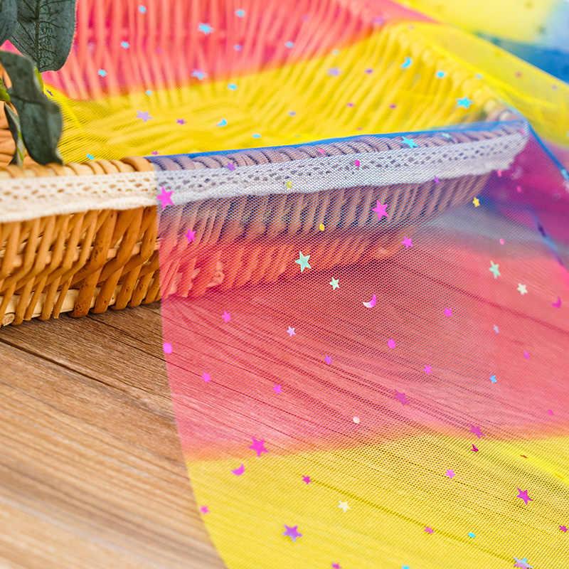 レインボーチュールファブリレースメッシュ生地スターのためのドレスの結婚式の装飾クリスマス TJ0306