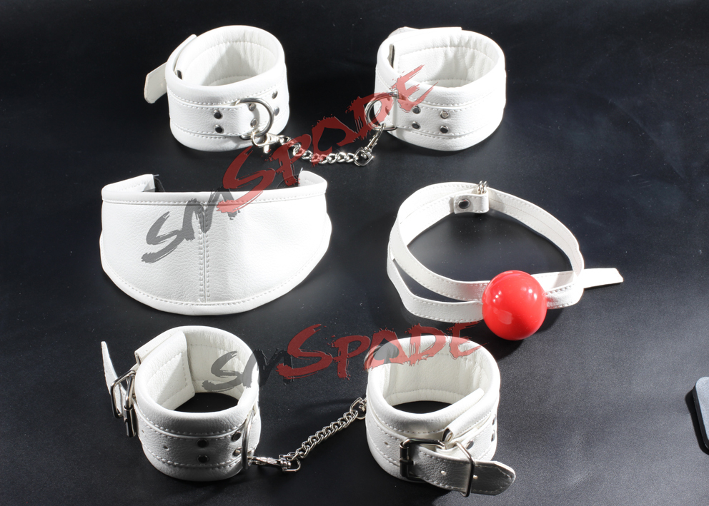 ФОТО 15 4pcs restraint kit  hand cuffs ankllecuffs gag blindfold white PU sex toy for couples Sex Toys Adult Products sexy