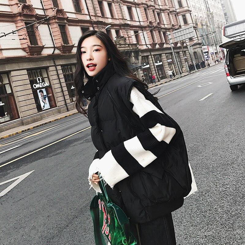Femmes Rembourré Deux Manteau Parka Coton Chaud Black Veste De Lâche 2019 Façons Manches Gilet Épaissir Mode Hiver Amovible D'hiver Porter 5XxXUOf