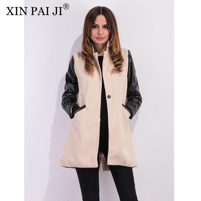 XIN PAI JI 2017 Fashion Autumn Winter PU Leather Patchwork Woolen Jacket Women Long Sleeve Casual