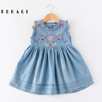 Summer Kids Clothing Embroidery Flowers Girls Sleeveless Dresses Lovely Children Party Toddler Princess Blue Denim Dress N38285