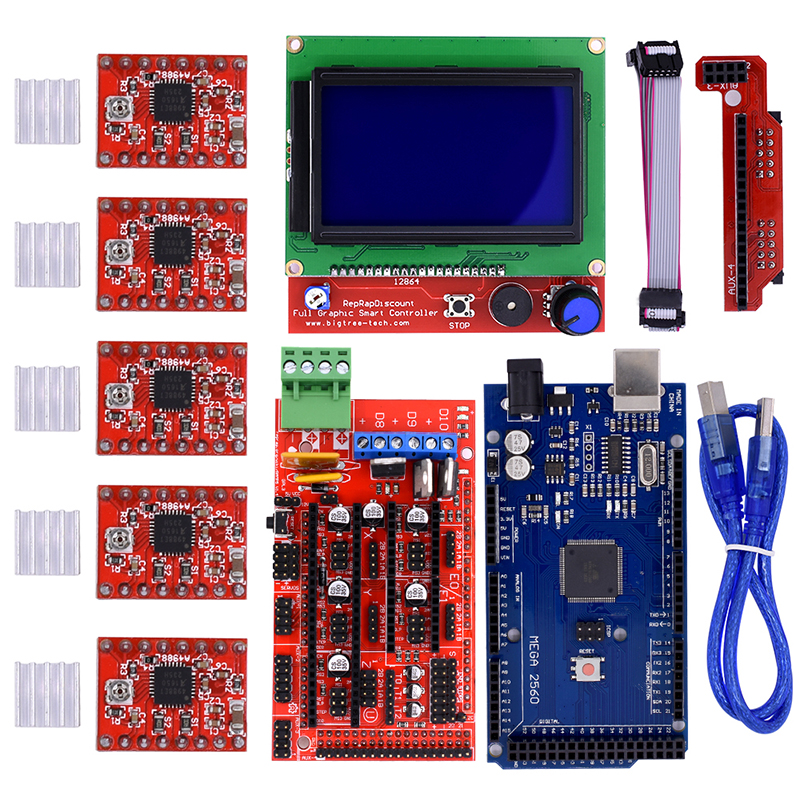 3D Printer kit Mega 2560 R3 Microcontroller ramps 1.4 controller 12864 LCD Panel 5pcs A4988 stepper driver For arduino new mega 2560 ramps 1 4 controller 4pcs a4988 stepper driver module for 3d printer kit for arduino reprap