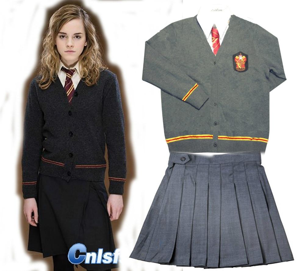 Gryffindor Hermione Cosplay Skirt Uniform Custom Made top font b shirt b font skirt tie