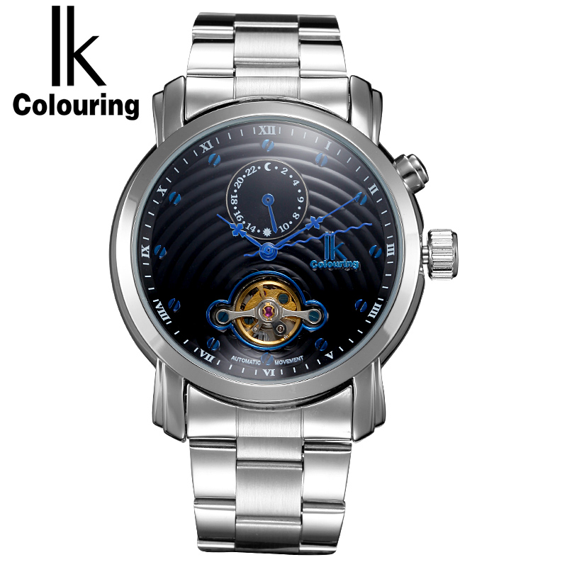 IK Colouring Men Watch Automatic Self-Wind Mechanical 24 Hours Sub Dial Toubillon Male Clock with Stainless Steel BraceletIK Colouring Men Watch Automatic Self-Wind Mechanical 24 Hours Sub Dial Toubillon Male Clock with Stainless Steel Bracelet