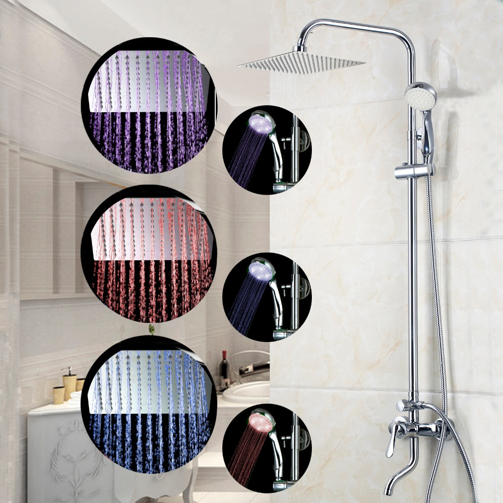 8 LED Luxury Bathrome Bathtub Rainfall Shower head Polished Wall Mounted Swivel Mixer Taps Shower Faucets Set Chrome Finish 8 led bathrome bathtub rainfall shower head polished wall mounted swivel mixer taps shower faucets set chrome finish