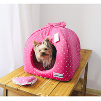 Rose Pink Bows Lace Dot Winter Dog Beds Pet Mats Products For Dogs Pet Round Maltese