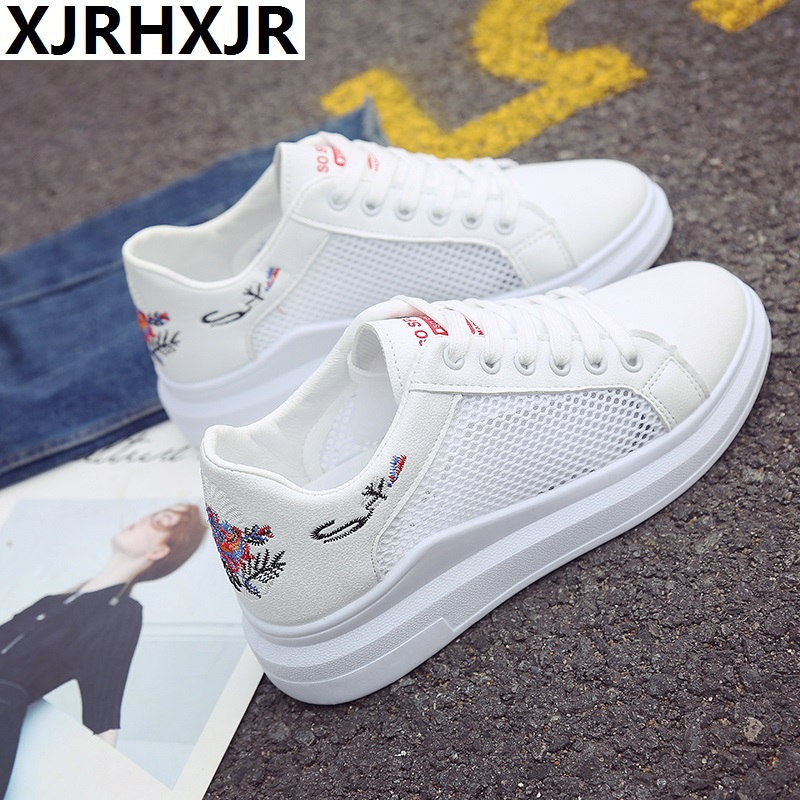 XJRHXJR Brand Women Casual Shoes Summer 2018 Spring Women Shoes Fashion Embroidered Breathable Hollow Lace-Up Women Sneakers women creepers shoes 2015 summer breathable white gauze hollow platform shoes women fashion sandals x525 50