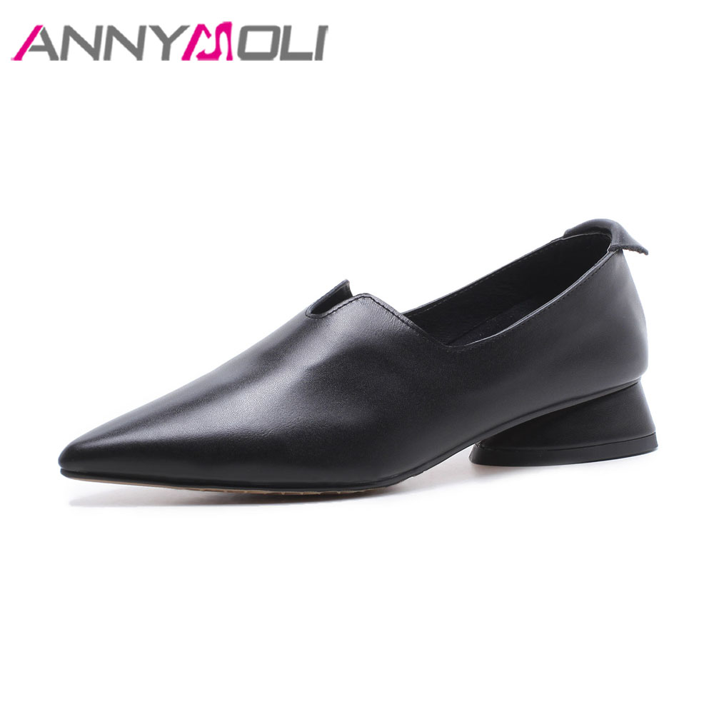 ANNYMOLI 2018 Shoes Real Leather Women Flats Spring Casual Shoes Pointed Toe Slip On Ladies Shoes Loafers Black White Size 34-43 baiclothing women casual pointed toe flat shoes lady cool spring pu leather flats female white office shoes sapatos femininos