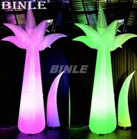 Air shipping nice colorful giant standing led inflatable palm tree lighted flower column tube for wedding decoration