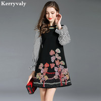Ladies Striped Floral Embroidery Dress Vetement Femme 2018 Spring Long Sleeves Shirt Gothic Dress Tunique Femme Robe K6327
