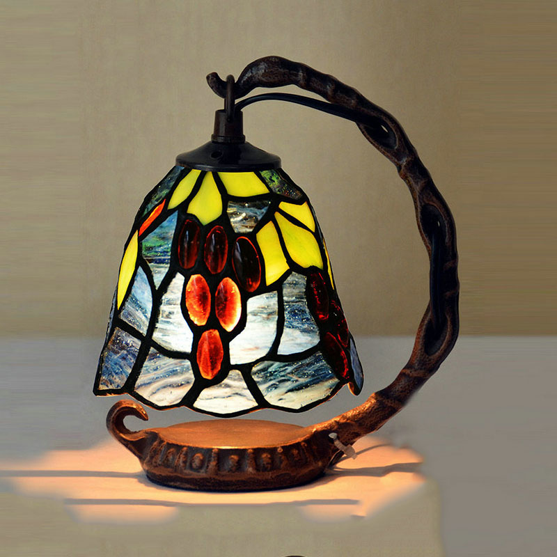 tiffany table lamps luxurious ancient garden e14 bedside lamps living room decoration night light bedroom lamp - Tiffany Table Lamps