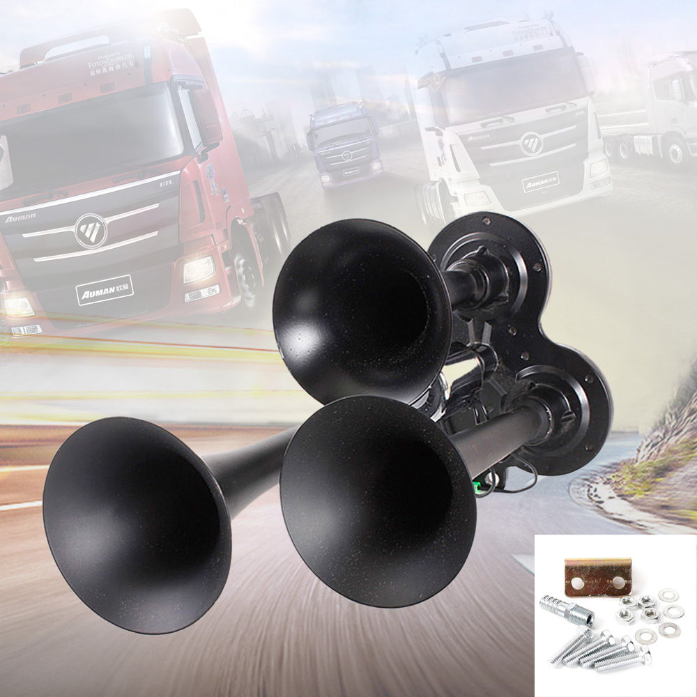 Black Metal 12V/24V 150DB Motorcycle Car Compact Air Horn Kit Triple Trumpet Ultra Extremely Loud 3 Tone Sound