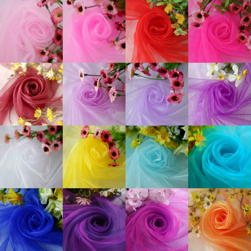 45cm*5meter Sheer Crystal Organza Tulle Roll Fabric for Wedding Party Home Decoration Baby Shower Birthday Party Decoration.L