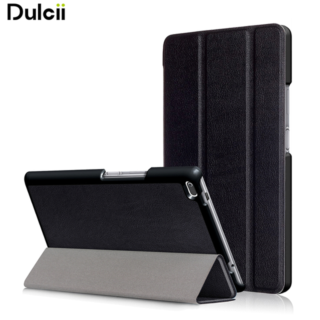 Dulcii For Lenovo Tab 4 8 Case Tri-fold Flip Stand Leather Accessory Casing for Lenovo Tab4 8 TB-8504F/N - 8.0 inch