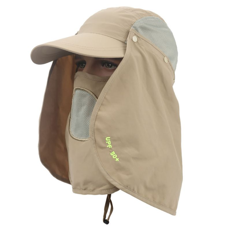 360 degree Assembled Dry-Fast Neck Cover Boonie Fish Camping Hunting Snap Hat Ear Sun Fl ...