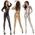 Erotic Women Sexy Shiny Leather Latex bodydoll Hollow Out Hole DJ Dance Bodysuit Lingerie Exotic Clubwear Black Gold Silver