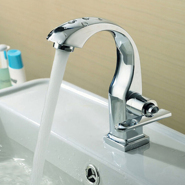 MAXSWAN Chrome Finish Single Lever Home Bathroom Basin Faucet Spout Sink Cold Water Tap Kitchen Faucet Mixer Tap