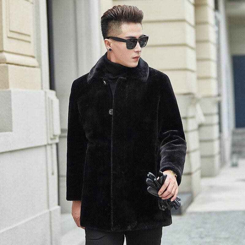 Breasted Invierno Cuero Hombres Hombres Moda Oveja Black Abrigo Tamaño Collar De Lujo Piel Chaqueta Único Cordero Sxz1wxXHcq