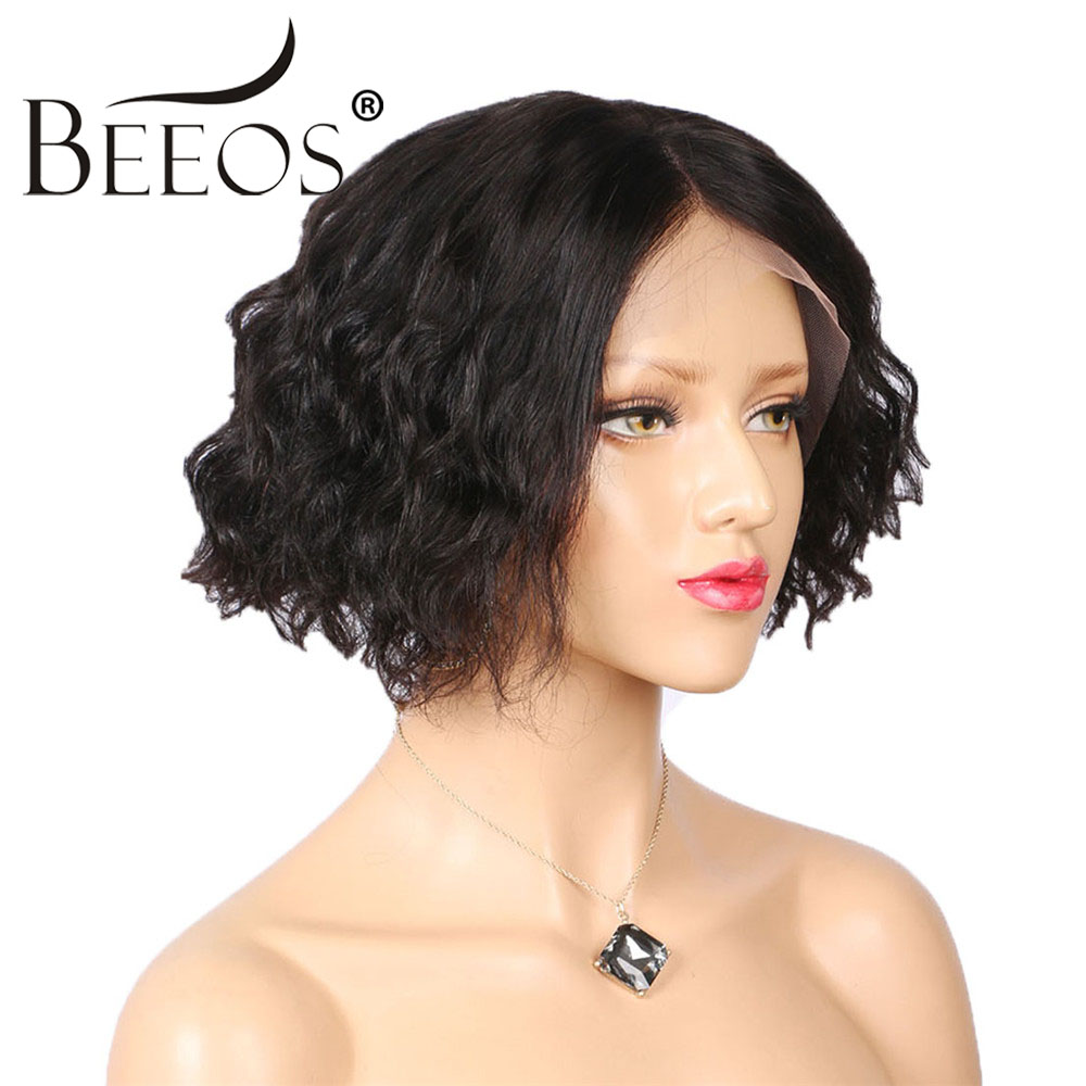 Beeos Curly Lace Front Human Hair Wigs for Women Natural Black Glueless Bob Brazilian Remy Hair Short Wigs Pre Plucked Hairline