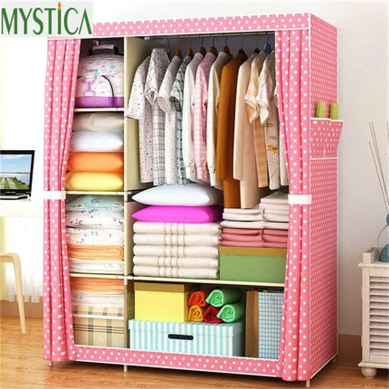 2018 NEW Non-woven Wardrobe Closet Large And Medium-sized Storage Cabinets Simple Folding Reinforcement Receive Stowed Clothes
