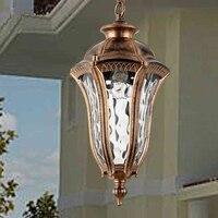 American vintage bronze en aluminium E27 LED ampoule étanche extérieure pendentif luminaire Européenne rétro jardin verre pendentif lampe