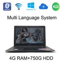 2017 fashionable 4G ram 750GB HDD windows 10 system 14 inch laptop Intel Celeron J1900 2.0GHz built in camera for discounts