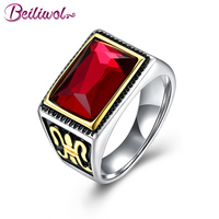 Beiliwol Rings For Men Square Red Stone Vintage Mens Jewelry 2017 New Arrival Wholesale Father S