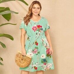 Duży Plus rozmiar sukienka lato drukowane kwiatowy Sexy kobiety sukienka z nadrukiem kolorowe Lady sukienka z krótkim rękawem Letnia sukienka 1