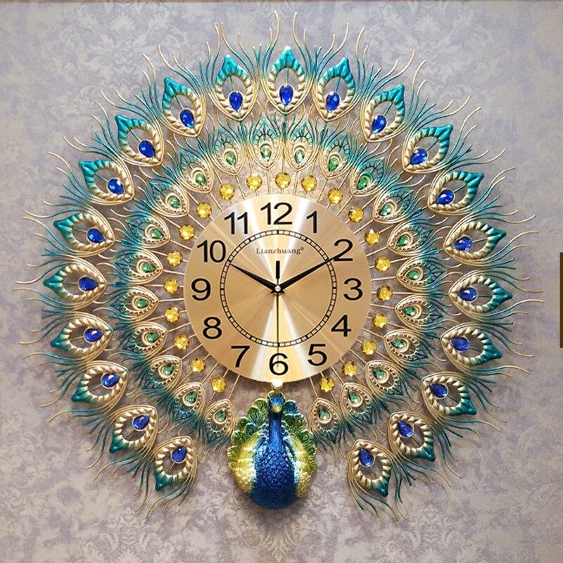 Quartz de luxe européen créatif grande horloge murale Art doré paon horloges mur Design moderne salon muet mur montre