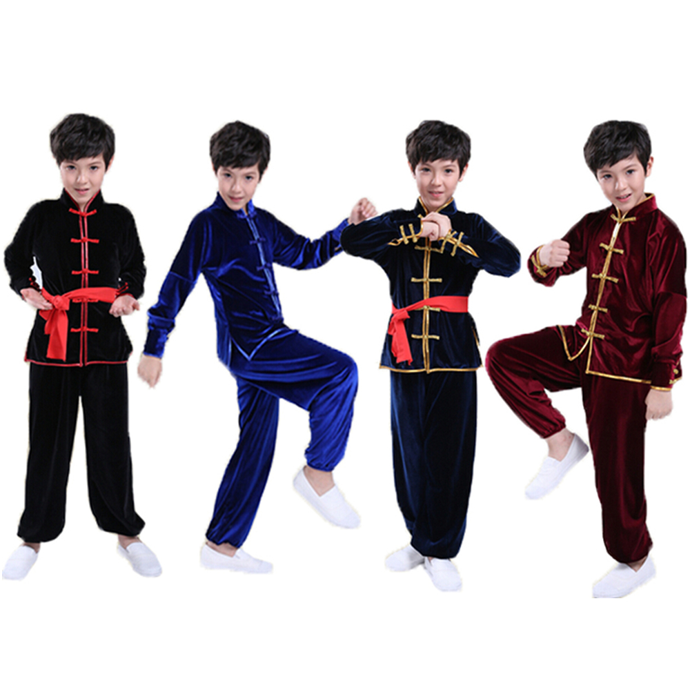 2017 Autumn Winter Pleuche Kids Long Sleeve Kungfu Suits Practice Fitness Performance Thicken Taichi Uniforms For Boys Girls