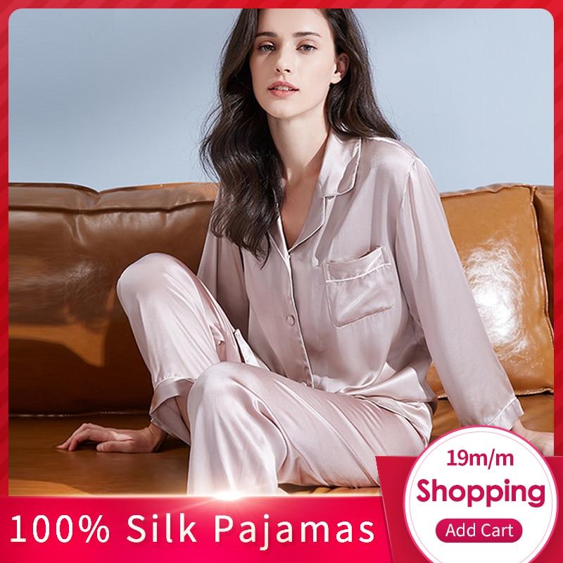Women 100% Real Silk Pajamas Set 2020 Solid 19 M/m Silk Pijama Mujer Sleep Lounge Bedgown Pure Silk Sleepwear Suits Pyjama Femme