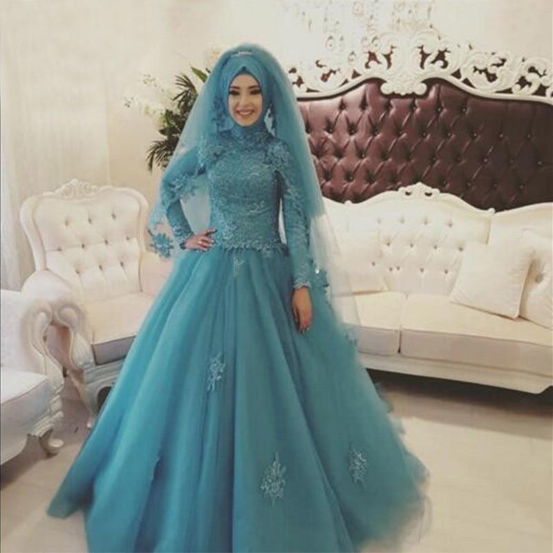 Arabic Blue Muslim Wedding Dress Dubai High NeckWith Hijab Lace Ball ...