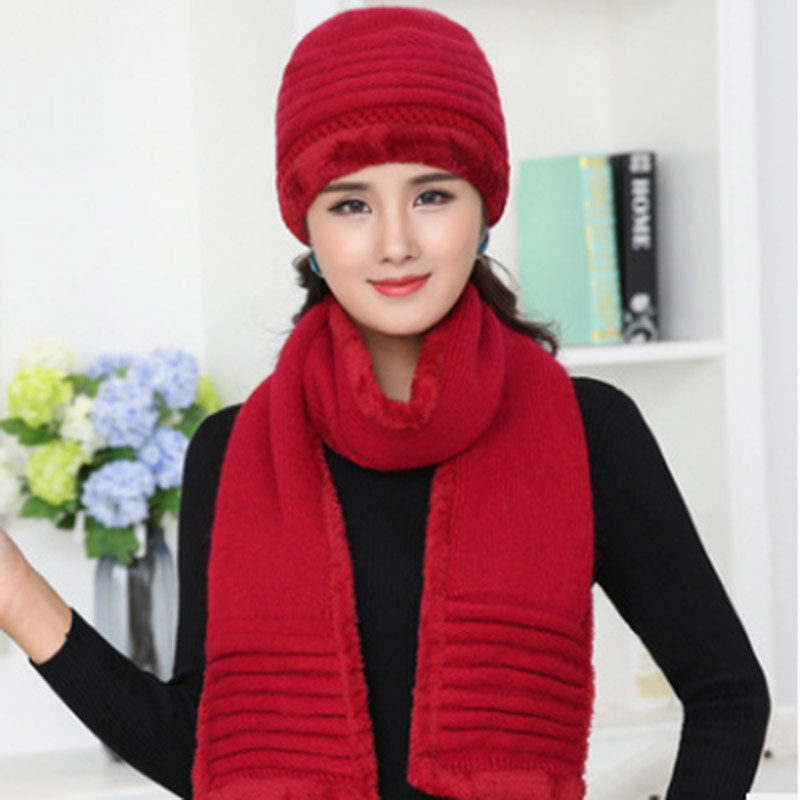 MAERSHEI Brand Women's Fashion Rabbit Hat Winter Warm Hat Scarf Set Youth Knit Hat Thicken Pompom Beanies Gorros