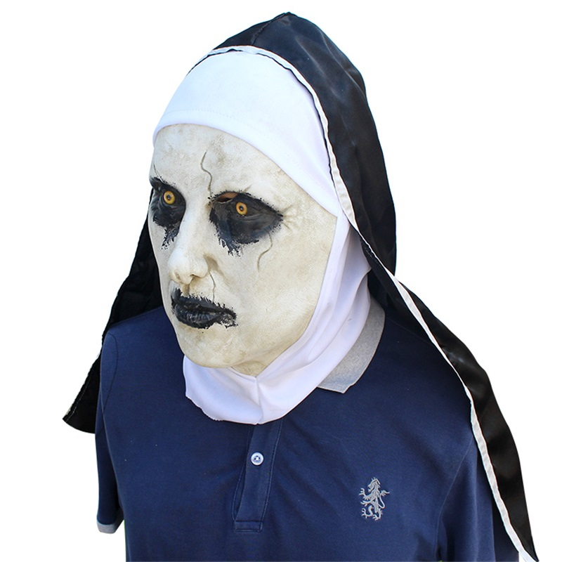 new The Nun Horror Mask Cosplay Valak Scary Latex Masks With Headscarf Full Face Helmet Halloween Party Props The Conjuring 2018 3