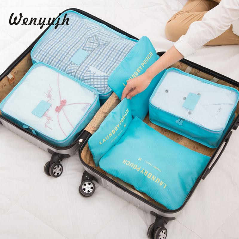 WENYUJH 6PCs/Set Travel Bag For Clothes Functional Travel Accessories Luggage Organizer High Capacity Mesh Packing Cubes #New