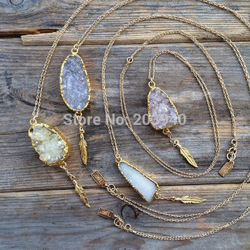 New Wholesale natural druzy necklace with tree charms in stock, 24k gold dipped stone druzy stone necklace