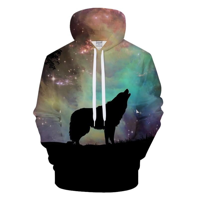 Animal Hoodies Galaxy Sweatshirt 3D Wolf Hoody Men Tracksuit Brand Hooded Streatwear Coat Male Pullover 2018 DropShip ZOOTOPBEAR