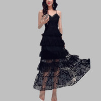Brand Summer Cake Holiday Long Dress Runway Women Black Lace Layers Ruffles Party Dress Sexy Maxi Spaghetti Strap Party Dress