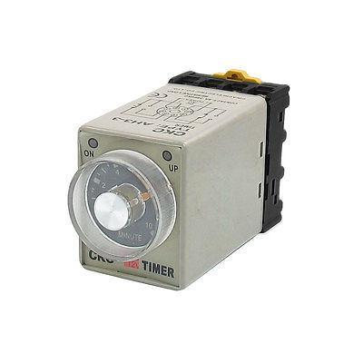 DC 12V 0-10 Minutes 10 Min Delay Timer Time Relay w 8 Pin DIN Rail Base ah3 3 ac 380v 0 30 minutes 8p terminals delay timer time relay w base