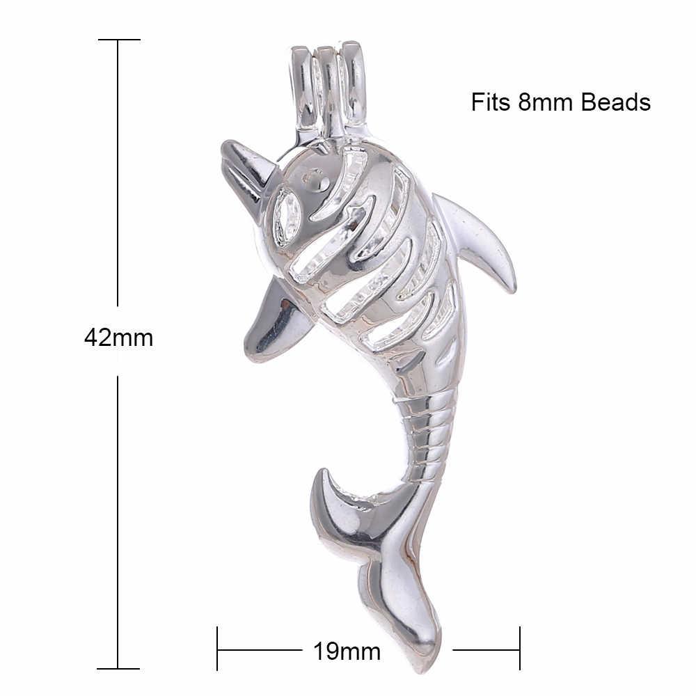 10 pcs Silver Plated Hollow น่ารัก Dolphin ออกแบบอินเทรนด์สร้อยคอเครื่องประดับ Pearl Cage จี้น้ำหอม Diffuser เครื่องประดับ