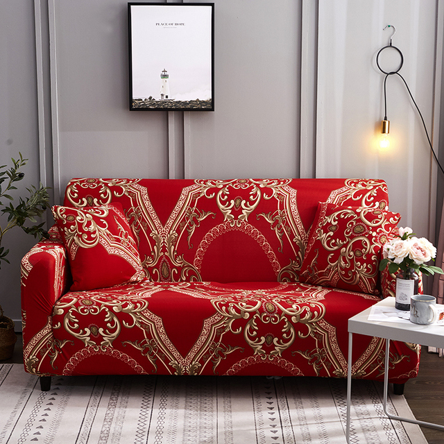 Red Stretchable Sofa Cover Royal Style Slipcover Elastic Couch Cover Tension Covers For Living Room