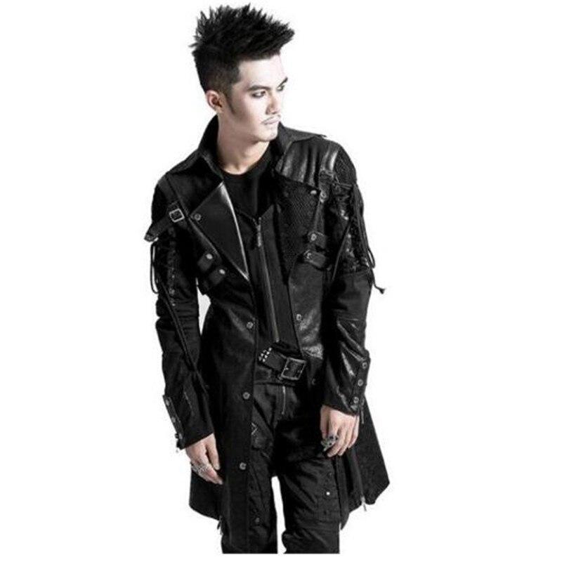 En Veste Taille Goth Longues 4xl Gothique Noir Militaire Rock Poison Cuir 2016 Punk À Manches Plus Homme Manteau La Hiver Black eDH9E2IWY