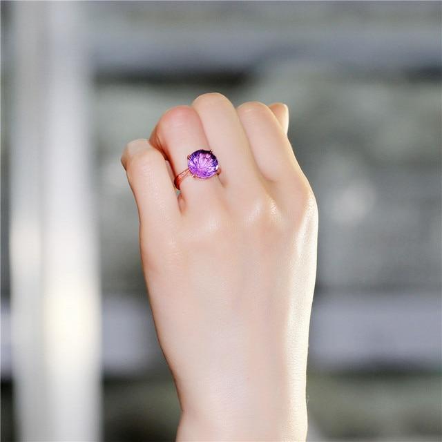 brixini.com - 4CT Amethyst Rose Gold Wedding Ring