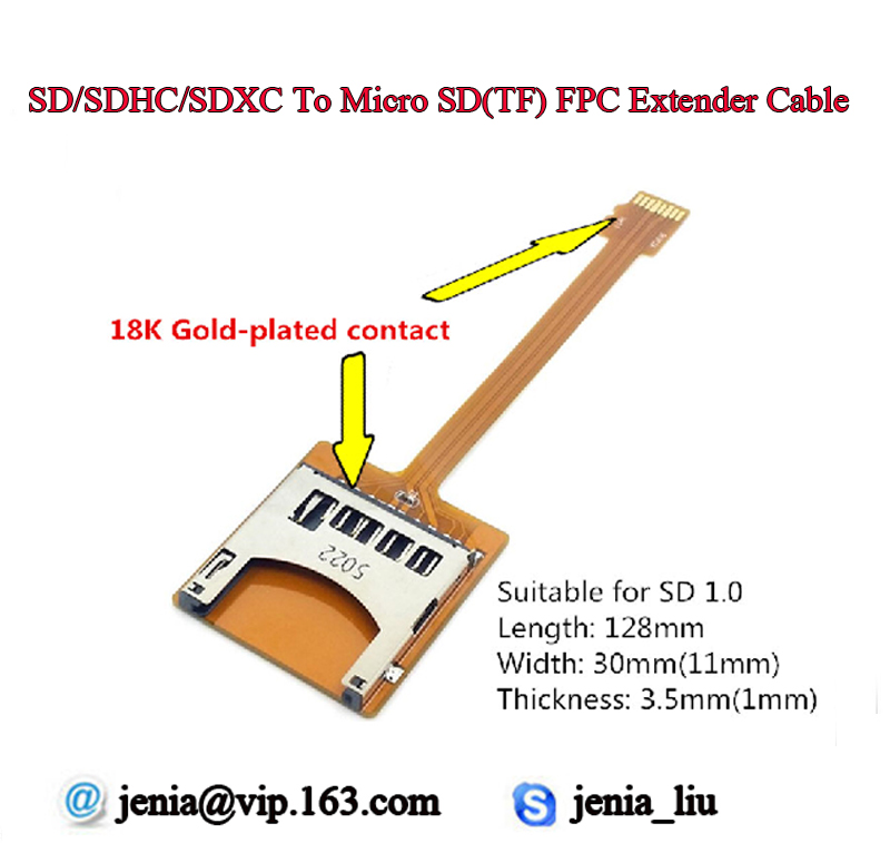1SD Card to TF/Micro SD TF Reader Adapter FPC Extend Convertor Cable for Car DVD Mobile Phone Slot Support Up 64G