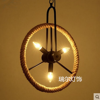 Vintage industrial wind iron Rope Wheel pendant light for Cafe Restaurant Bar hanglamp