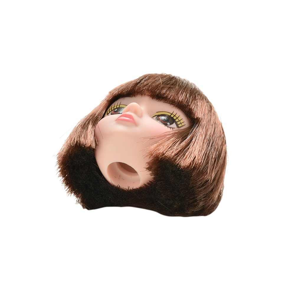 ขายใหม่ตุ๊กตาแฟชั่น Flaxen ผมสั้นนักเรียน HEAD Wigs สำหรับสาว Dollss ตุ๊กตา